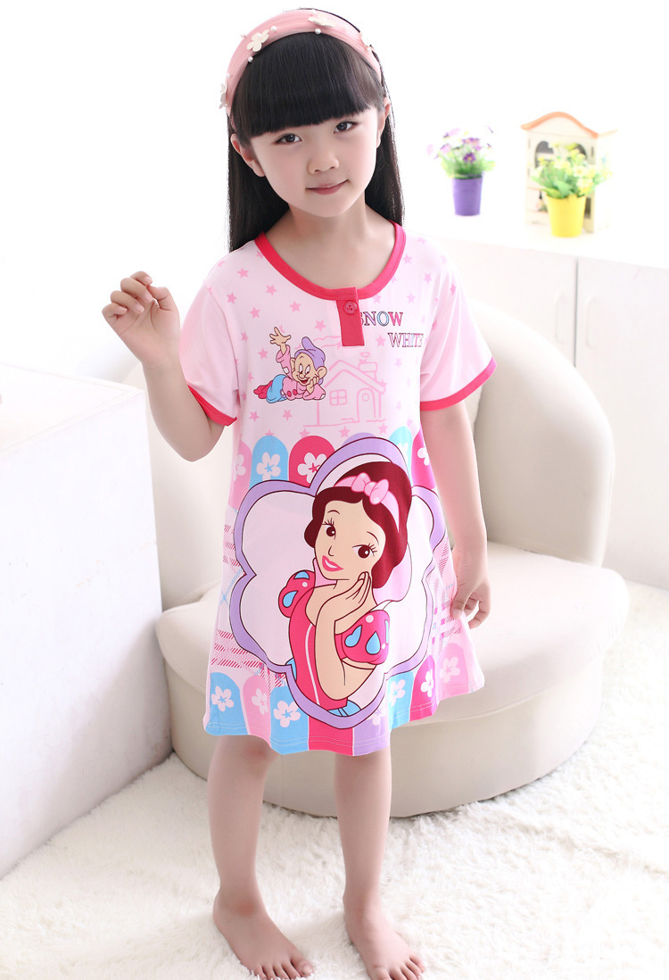 princess cartoon sleepwear2015 summer children short sleeve cotton nightgown cartoon girls nightgowns cotton(China (Mainland))