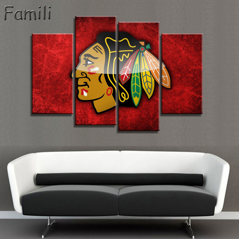 Modern Art Wall Painting NHL Ice Hockey Chicago Blackhawks Sport Themed Eagle Picture Printed On Art Canvas No Framed(China (Mainland))