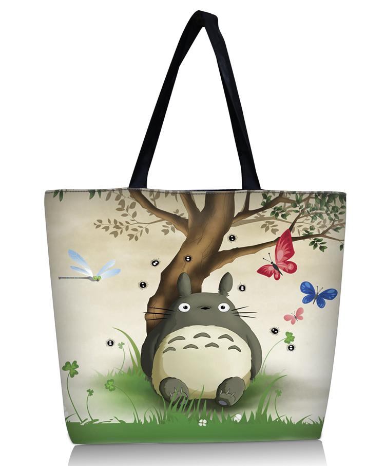 Totoro Prints Lady Women Large Folding Tote Shoulder Shopping School Bag Handbag Tote Tablet PC Bag for iPad Air 1 Air 2(China (Mainland))