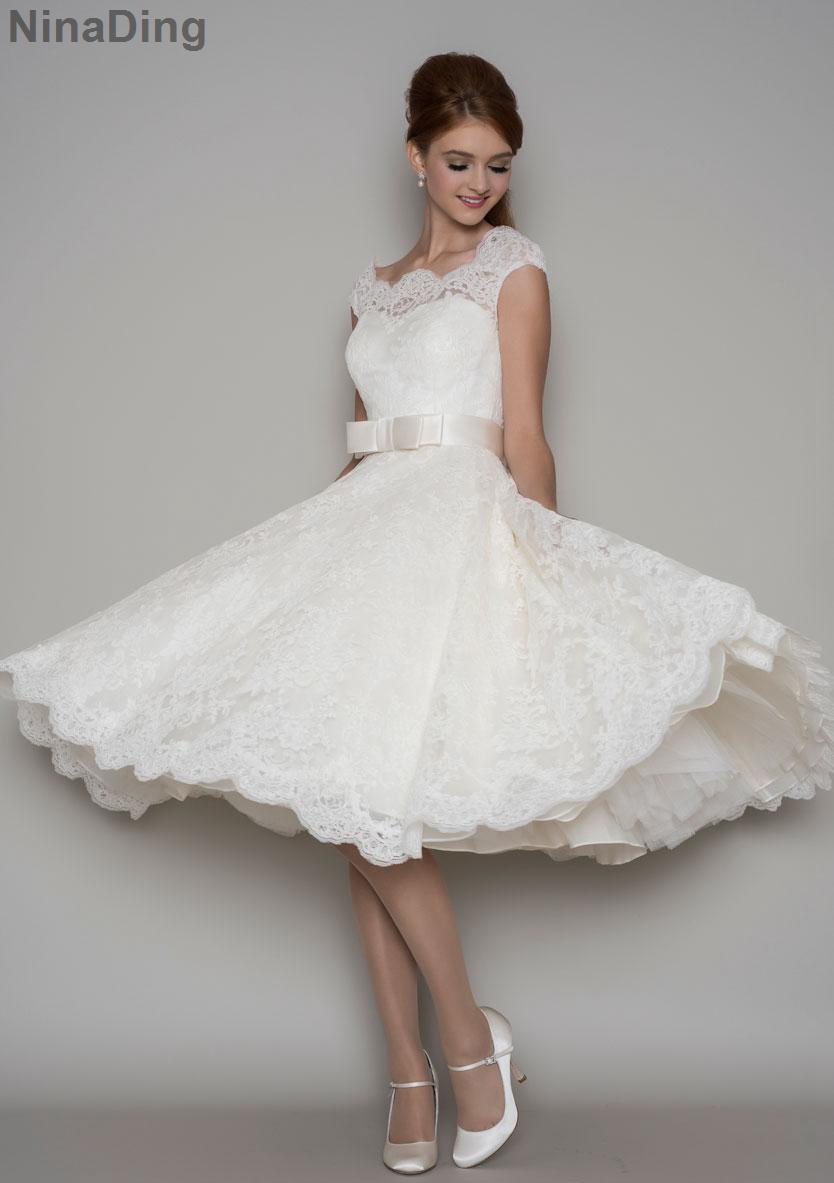 Sexy vintage lace tea length wedding dresses 1950s cap for Winter tea length wedding dresses