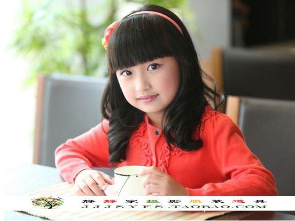Children's Medium Long Curly Wig Lovely Neat Bangs Black Cosplay Wig Heat Resistant Full Hair High Quality(China (Mainland))