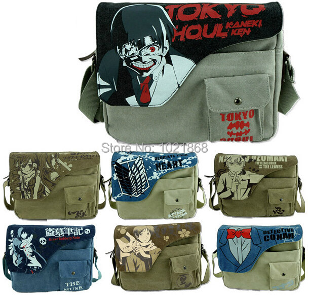 Tokyo Ghoul/One Piece/Recon Corps/Totoro/LOL/Sword Art Online One Shoulder Inclined Bag Canvas Messenger Bags anime School Bags(China (Mainland))