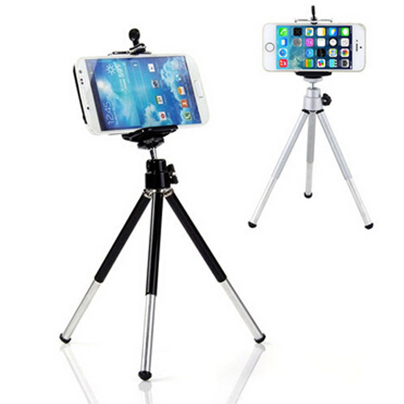 2016 Hot sale Mini 360 Degree Fashion Rotatable Stand Tripod Mount + Phone Holder Bracket Silver Color For iPhone(China (Mainland))