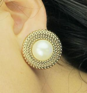 Big Fashion Earrings For Women vintage gold and big pearl