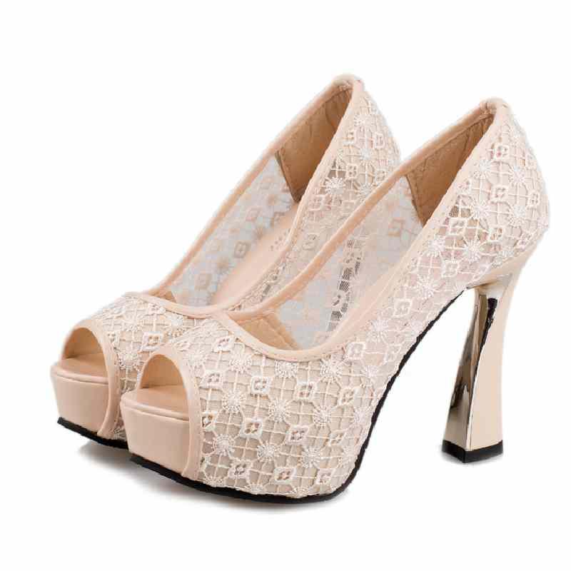 Hot Sale Wedding Pumps Peep Toe Platform Shoes Hoof High Heels Sexy Elegant Lace Design Slip-On Casual Party Women Pumps 2016