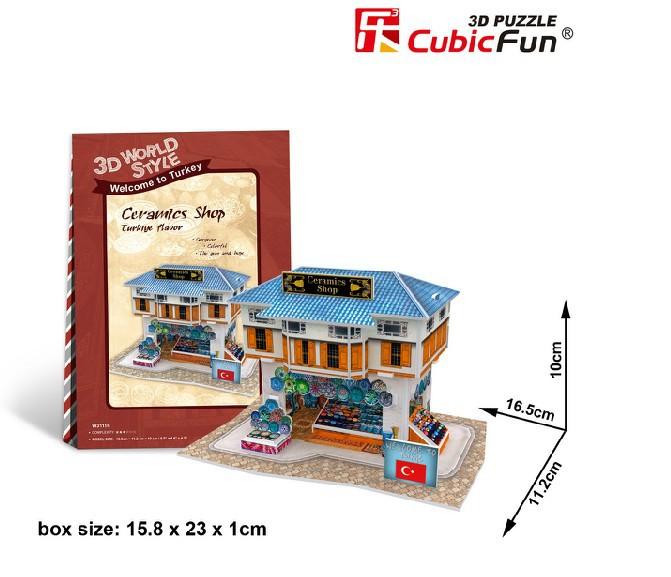 Free shipping Original CubicFun 3D puzzle Mini building model Turkey Ceramic shop children's toys birthday gift(China (Mainland))