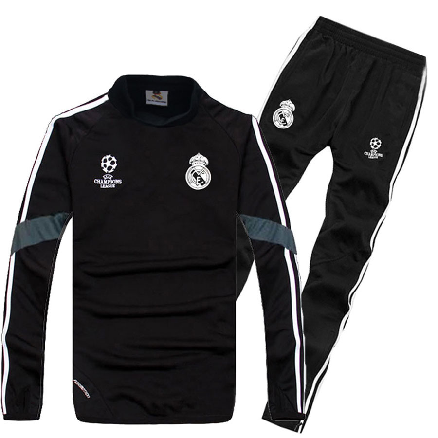 New 2014 15 Real Madrid Champions League Soccer Tracksuits 2015 Real Madrid Training SUIT Long Sleeve Football men jersey(China (Mainland))