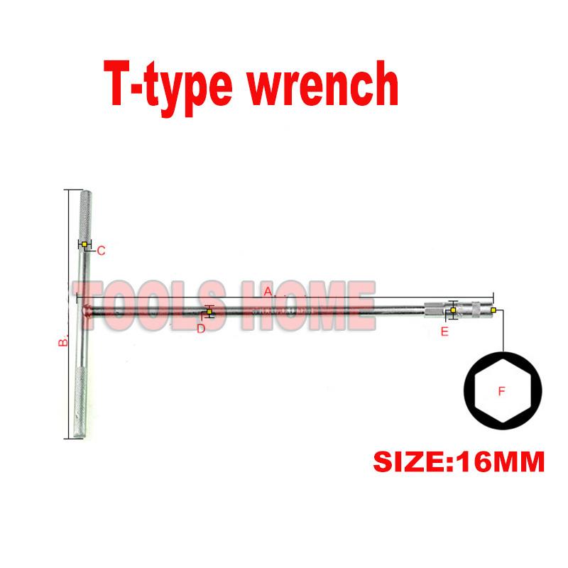 Free shipping!! 16mm Bike repair tool T type Trigeminal wrench socket spanner Chrome Vanadium Hexagon Hex socket spanner wrench