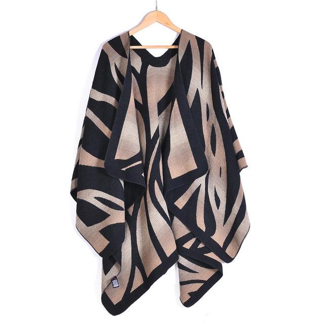 Негабаритных зебры пончо свитер кардиган 2015 оливия палермо впп подиум улица вязаные мыс платок женщин леди нью-al S213