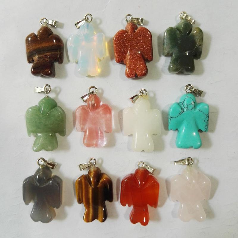 wholesale Bird natural stone Birds pendants mixed animal stone pendant for jewelry making angel Necklace 12pcs/lot free shipping(China (Mainland))