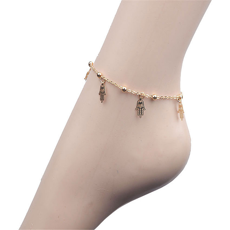 Palm Design Retro Indian Style 1D Crystal Chain Anklet Ankle Bracelet Beach Bare Foot Fashion Summer Jewelry Chain Hot Selling(China (Mainland))