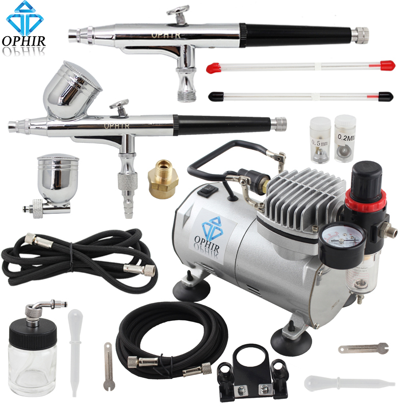OPHIR 110V,220V 2 Airbrush Spray Paint Gun & Mini Air Compressor for Hobby Cake Decoration Model Paint  #AC089+AC004+AC074