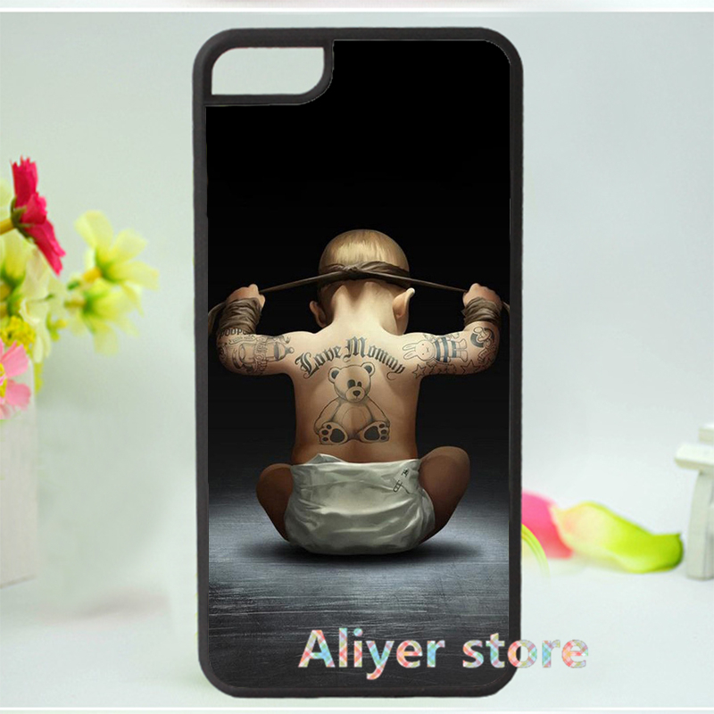 Cool Cute Baby Bear Tattoo Back fashion original mobile phone case cover for iphone 4 4s 5 5s 5c 6 & 6 plus E458(China (Mainland))
