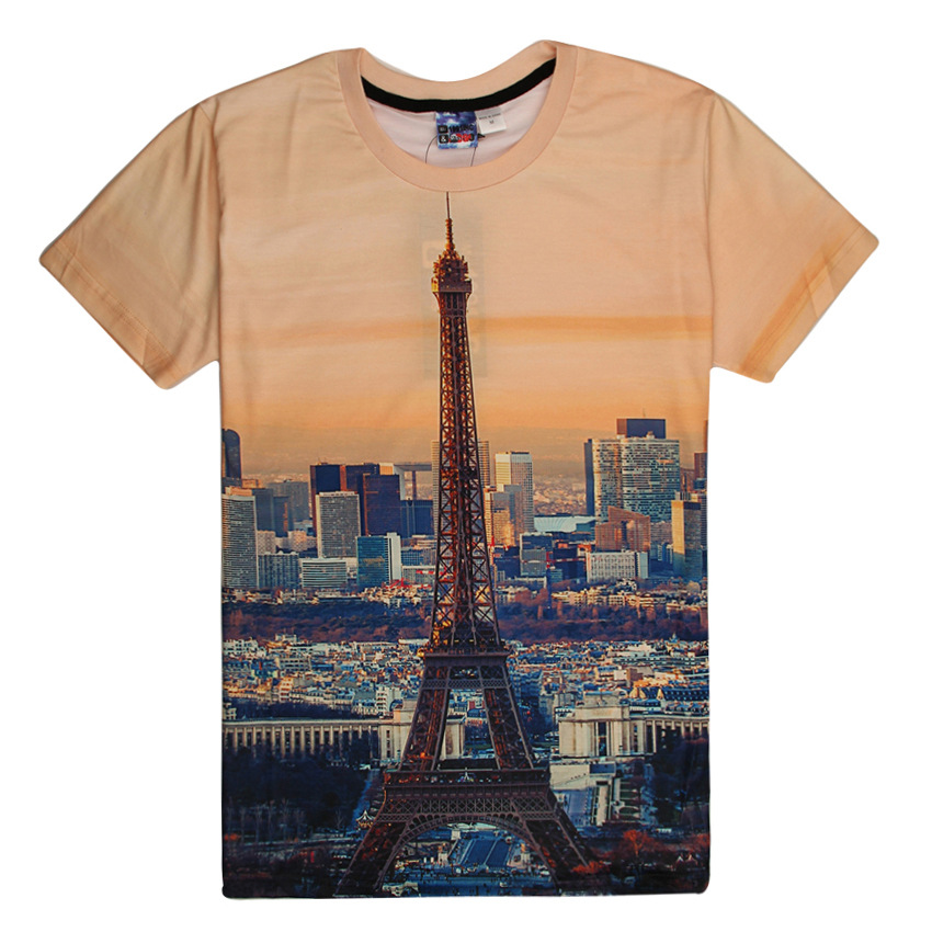 2016 Spring Summer New Women Men 3D T Shirt Paris Eiffel Tower Print Short-sleeved T-shirt Tee Shirt Femme Camisetas Mujer B364(China (Mainland))