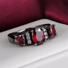 GALAXY New Trendy Unique Black Gold Filled 3 Pcs Red Zircon Ruby Rings For Women Fashion