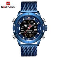 NAVIFORCE montres pour hommes Top marque de luxe montres de sport pour hommes LED à Quartz horloge numérique pour hommes montre-bracelet militaire en acier pleine(China)