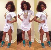 여성 흰색 tshirt 드레스 여름 스타일 2015 섹시한 붕대 짧은 해변 드레스 나이트 클럽 티 정상 면 긴 패션 드레스 l362
