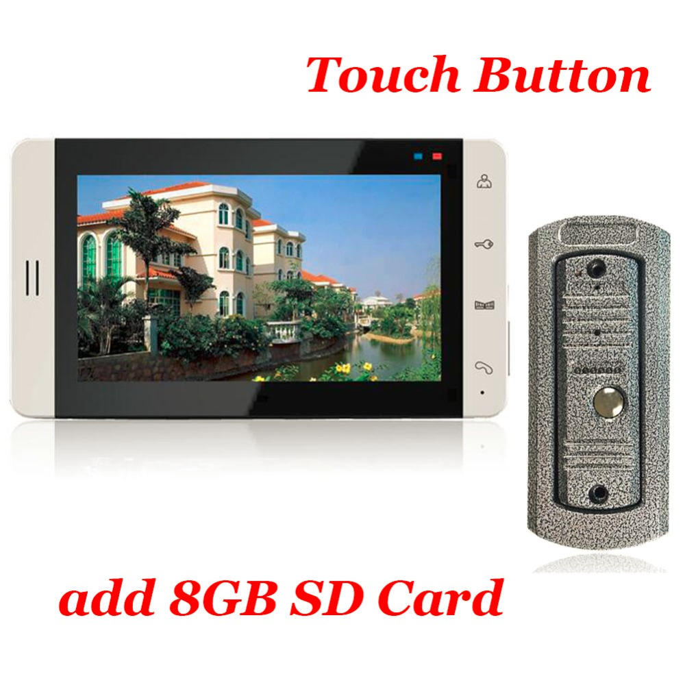 7inch Touch Button Color Monitor 8G SD Card Video Recording Vandal-proof Metal Casing IR Cam Video Door Phone Intercom System(China (Mainland))