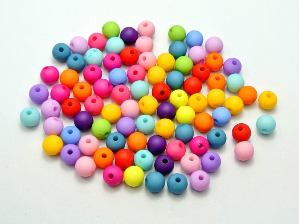 500 Mixed Color Acrylic Round Beads 6mm Imitation Wooden beads(China (Mainland))