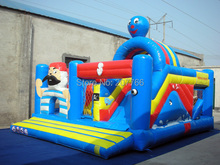 Commercial Bouncer Combo Inflatable Pirate Jumper 6m by 5m by 3.9m 0.55mm PVC Tarpaulin With One Piece Air Blower(China (Mainland))