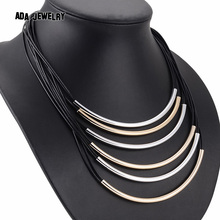 2016 New Bijoux 6 Layer Long Leather Women Necklaces & Pendants Gold Choker Collar Maxi Necklace Statement Jewelry Collier Femme(China (Mainland))