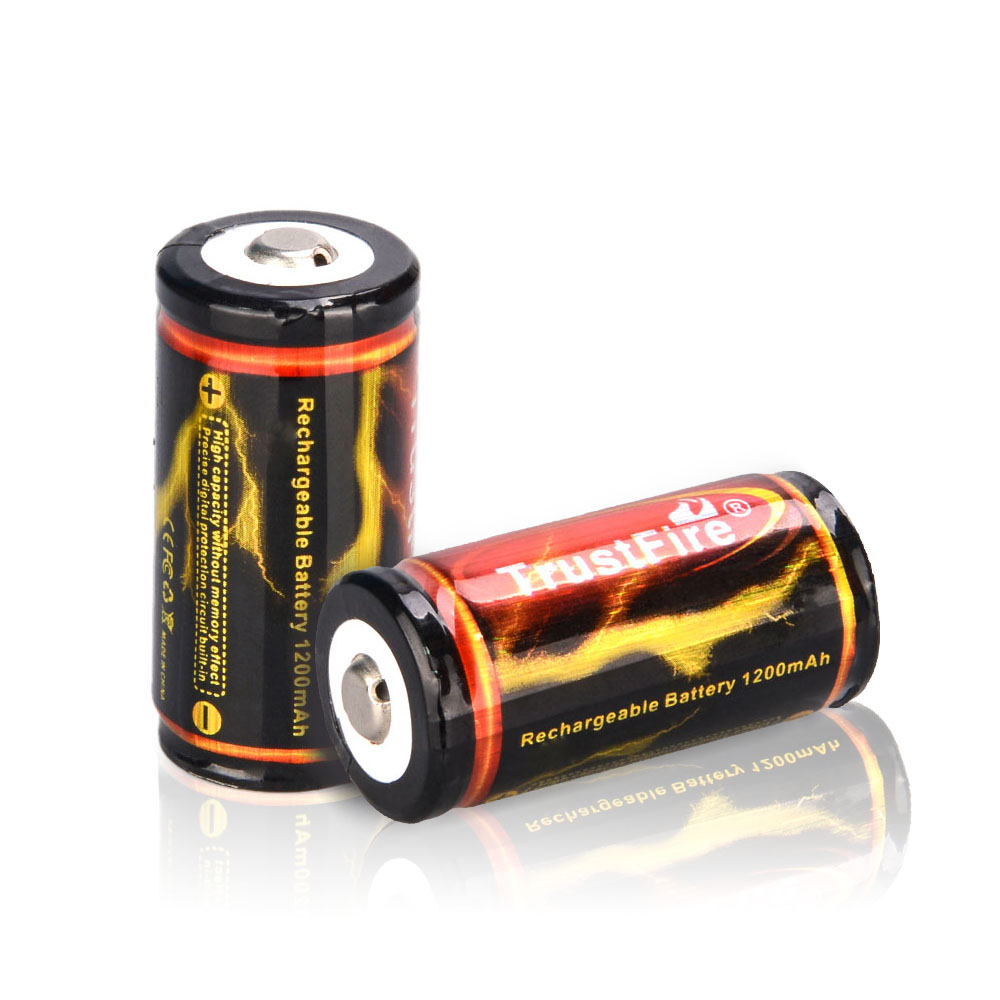 TrustFire Batteries 2PCS 18350 1200mAh 3.7V Rechargeable Lithium Battery with PCB Protected Board(China (Mainland))