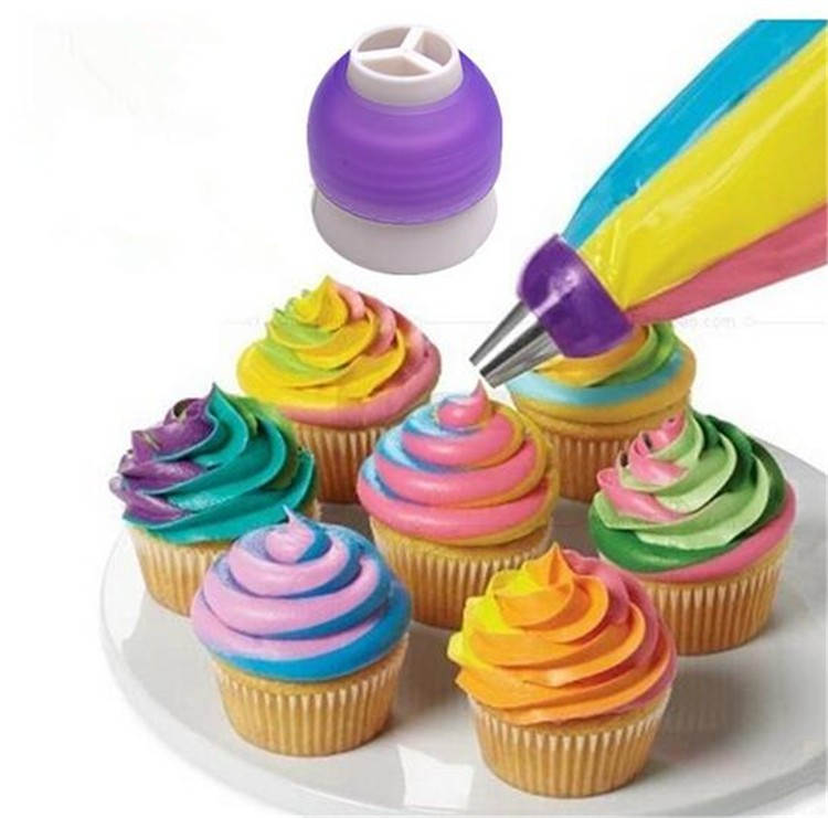 Icing Piping Bag Nozzle Converter Tri-color Cream Coupler Cake Tools Cupcake Fondant Cookie Decorating Bags Converter Cake Tools8