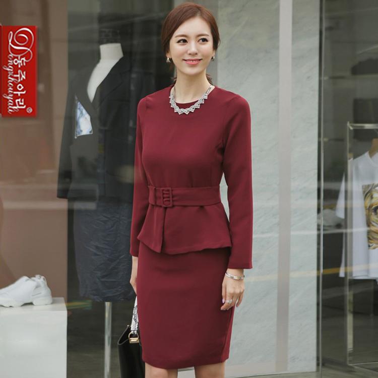 Spring autumn women's twinset lady slim elegant plus size o-neck long sleeve female skirt suits waistband - Fashion and Romantic Store store