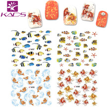 2015 Top Sell Butterfly Fish Nail Sticker Cute Animal Pretty Water Transfer Nail Sticker Beauty Wraps DIY Nail Art  for Tips