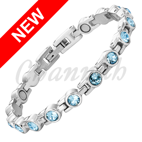 2016 Women Silver Magnetic Stainless Steel Bracelet Sky Blue 16pcs Branded Crystals Bangle Ladies Free Shipping Hong Kong Post(China (Mainland))