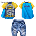 2016 Batman children sets summer fashion baby cotton denim jacket children set t shirt jeans shorts