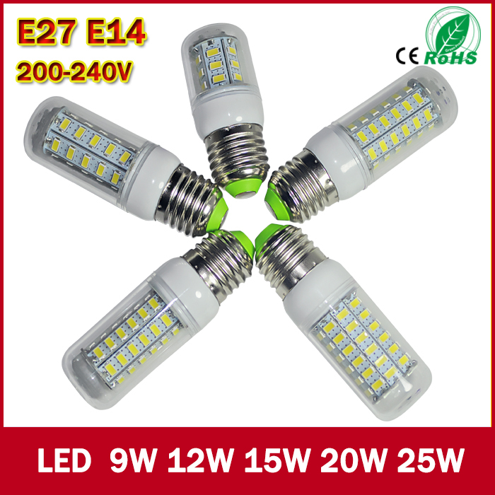 1pcs/Lot led corn bulb 9w 12W 15w 20W 25w E27 E14 Led Bulb Lamps AC 220V Ultra Bright 5730SMD LED Corn Bulb light Chandelier(China (Mainland))