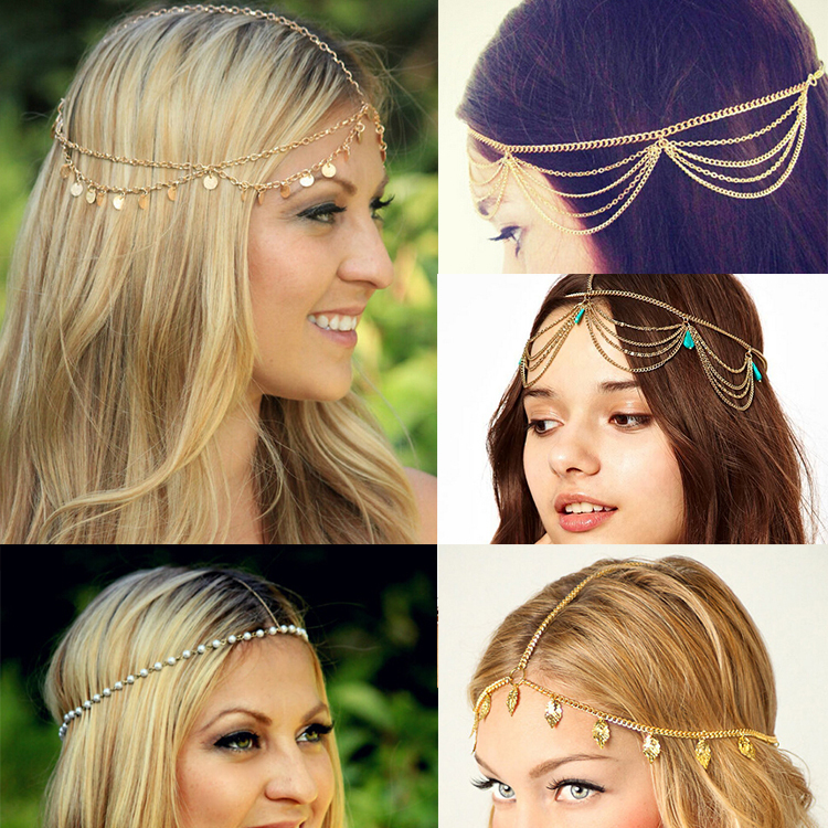 2015 New Beach Multi Layer Metal Gold Plated Head Chain Hair Jewelry Tassel Pearl Leaves Bindi hair accesories Boho Headband(China (Mainland))