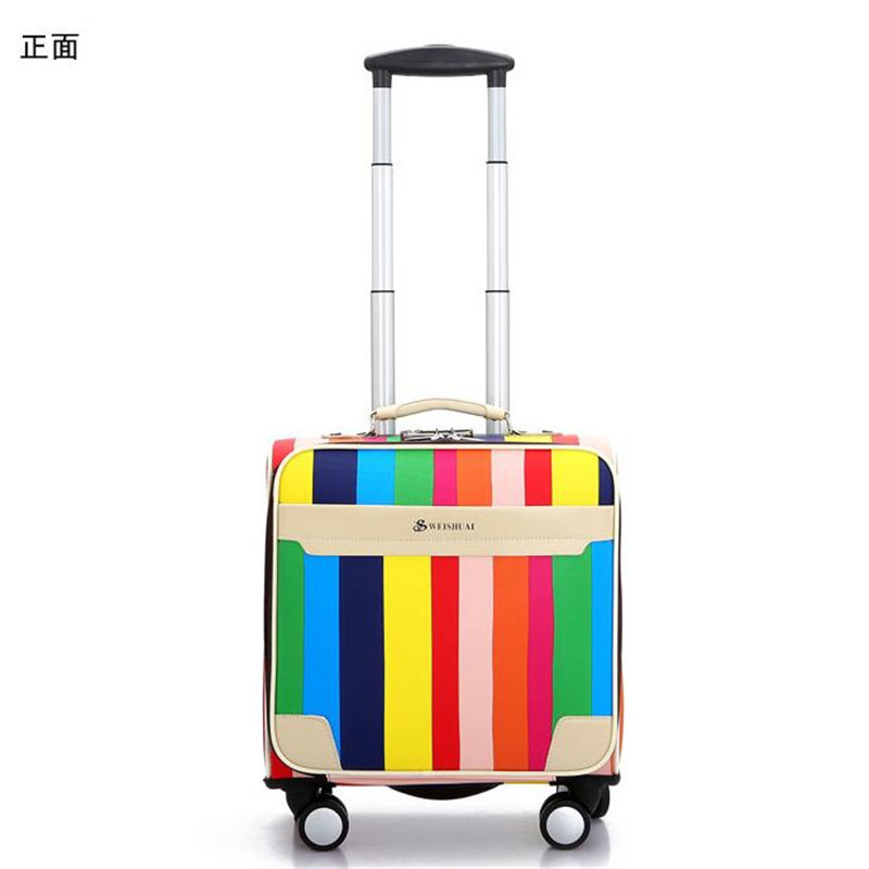 2016 Cheap Men Women Small Travel Luggage 16 Inch Valise PU Leather Trolley Suitcases Vintage Style Rolling Luggage with Wheels(China (Mainland))