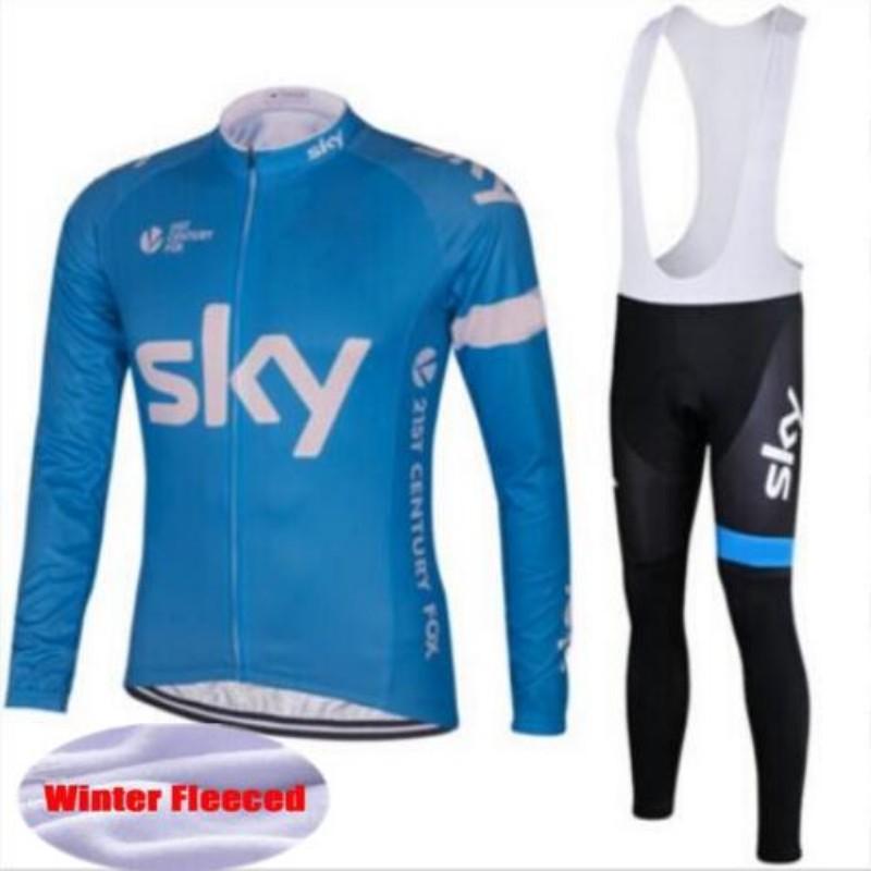 2016 winter warm wool team sky cycling dress long sleeve mountain bike bike jersey because air cycling clothing(China (Mainland))