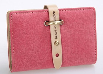 6 colors retail new PU leather buckle style card holders for women unique elgant fashion new 2014 design