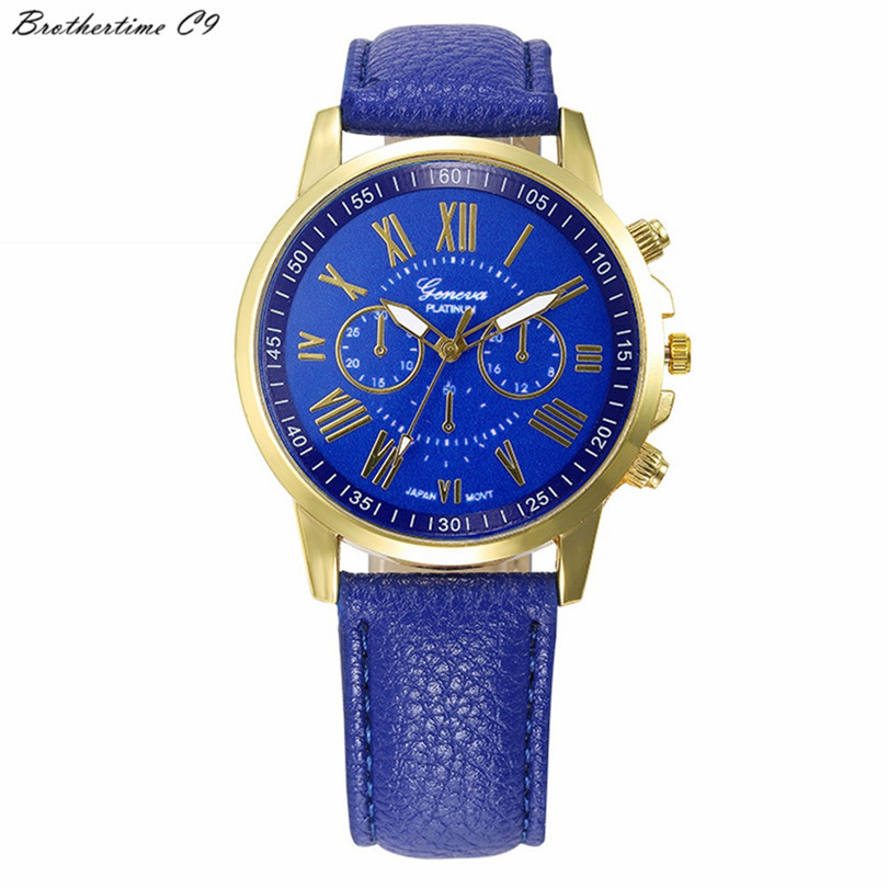 Brothertime C9 New Arrival New Women's Fashion Geneva Roman Numerals Faux Leather Analog Quartz Wrist Watch #-090 Free Shipping