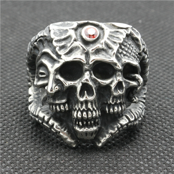 316L Stainless Steel Cow Head 3 Skull Ruby CZ Eye Face Siver Ring(China (Mainland))