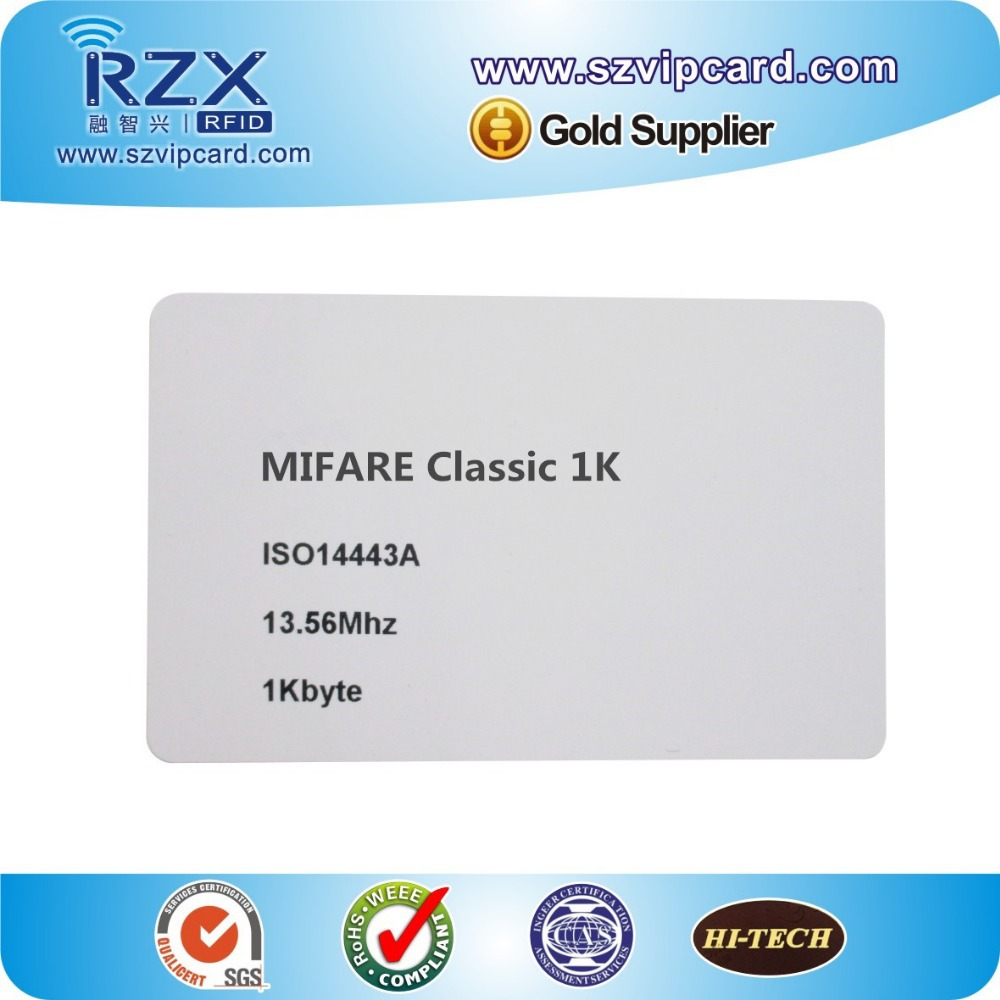 Free shipping MIFARE Classic 1K card smart rfid card, 13.56Mhz MIFARE S50 blank cards with 200PCS(China (Mainland))
