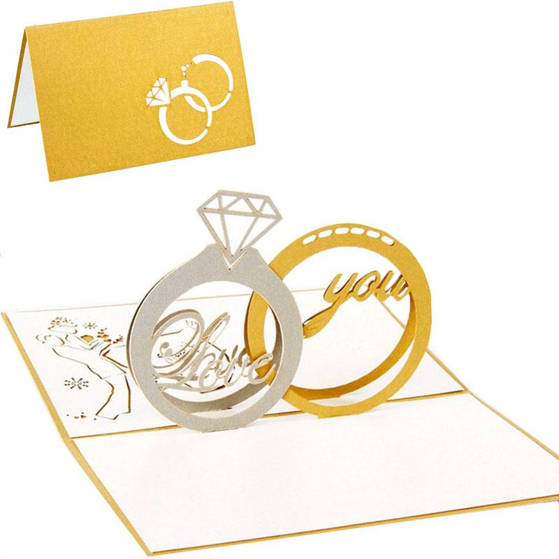 3D Pop Up Greeting Cards Diamond Ring Valentine Anniversary Wedding Anniversary(China (Mainland))