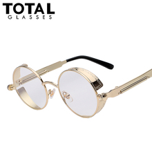 TOTAL Gothic Sunglasses Men Steampunk Round Metal Frame Sun Glasses Pink Mirror Eyewear Brand Designer High Quality UV400(China (Mainland))