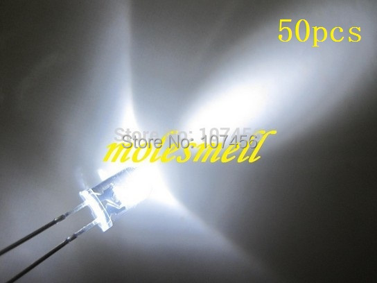 free shipping!!! 50pcs 5mm round led 5mm white LED(14000~16000 mcd) 5mm light-emitting diode 5mm water clear round white led(China (Mainland))