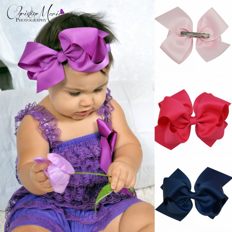 6 inch Big bow with clips Double hair bows hairbow baby girl headwear baby girl birthday gift(China (Mainland))
