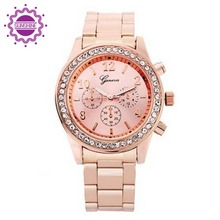 Fashion Brand Rose Gold Ladies Wristwatches Gift For Girl Full Stainless Steel Luxury Rhinestone Quartz Watch relojes mujer 2015