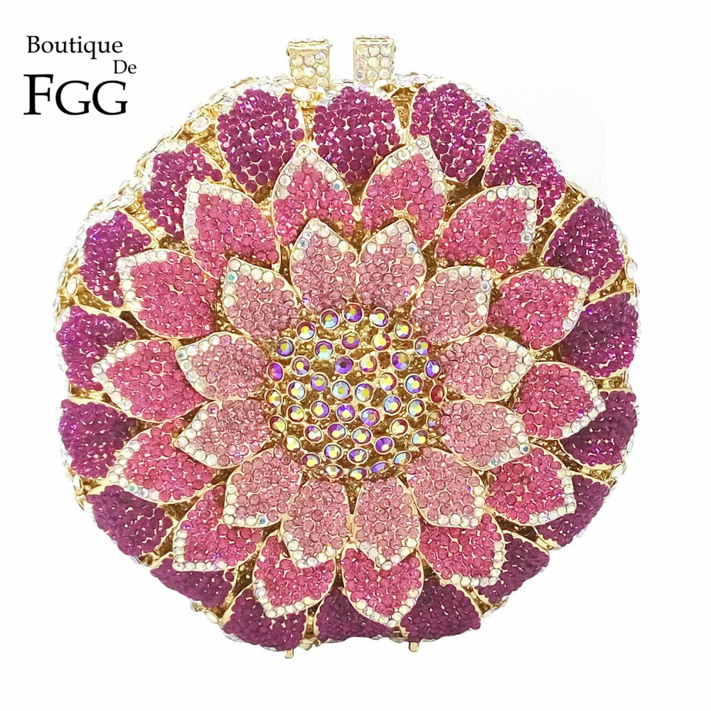 Dazzling Women Flower Bud Hollow Out Circular Lavender Combo Crystal Clutch Evening Bags Metal Mini Minaudiere Shoulder Handbags(China (Mainland))