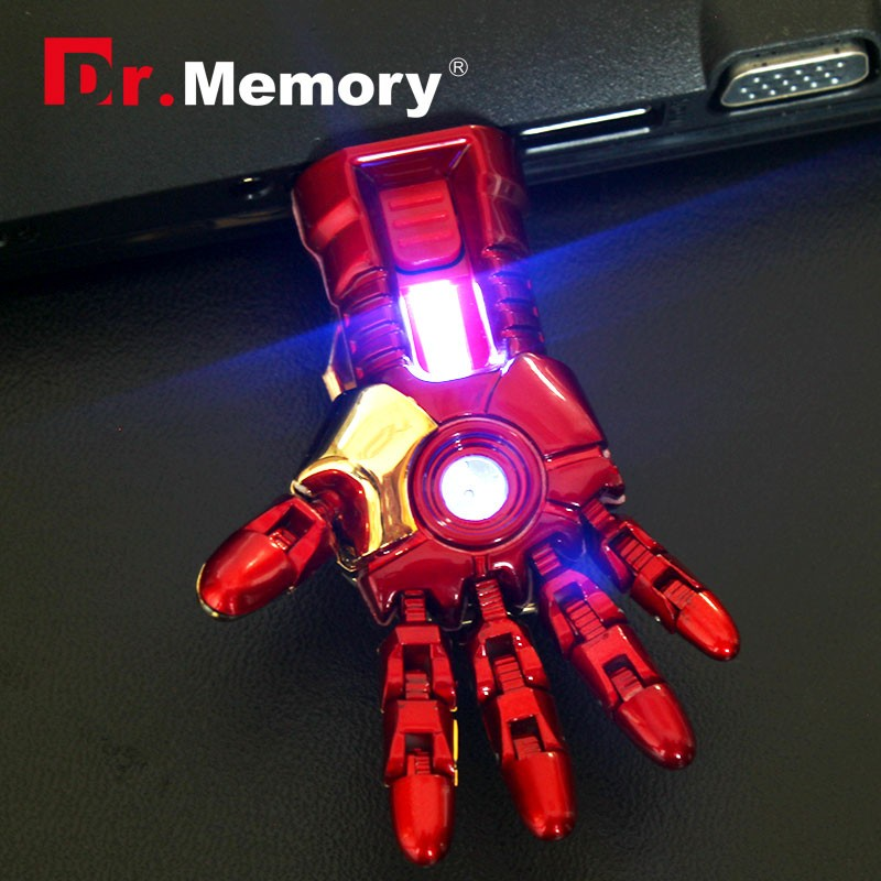2016 RBT Real Capacity The Avengers Iron Man Hand LED 8GB 16GB 32GB Pen Drive Pendrive Usb Flash Drive For PC(China (Mainland))