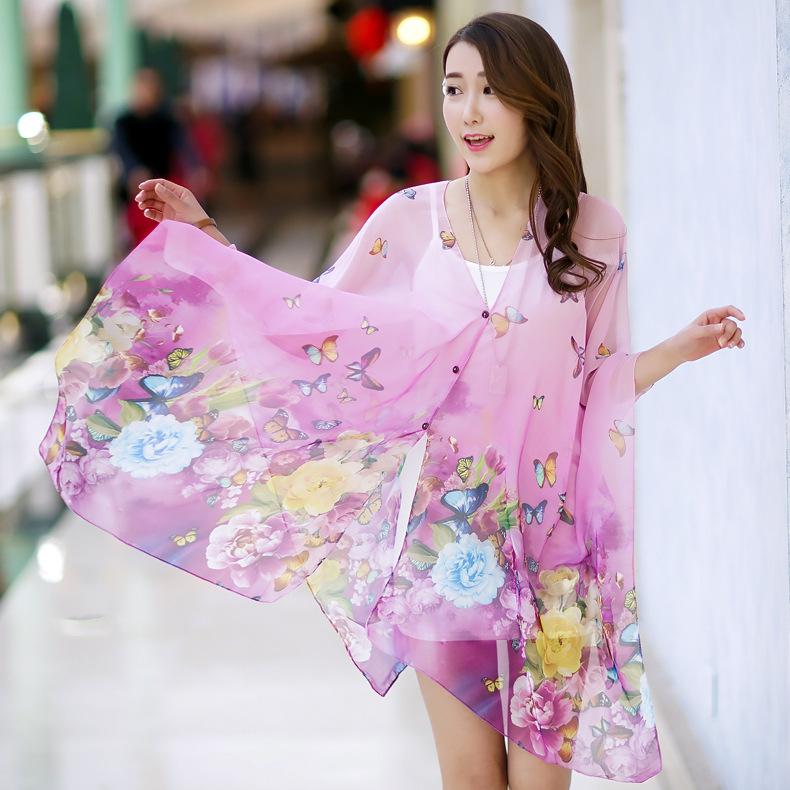 New Fashion Bohemian Style Scarves Sunscreen Beach Wear Brand Design Bandanas Women Chiffon Scarf Wrap(China (Mainland))