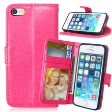 Newest Pu Leather Mobile Phone Case Solid Color Flip Leather Case Cover For Apple iPhone 5/5S/SE With Card Slot & Photo Frame