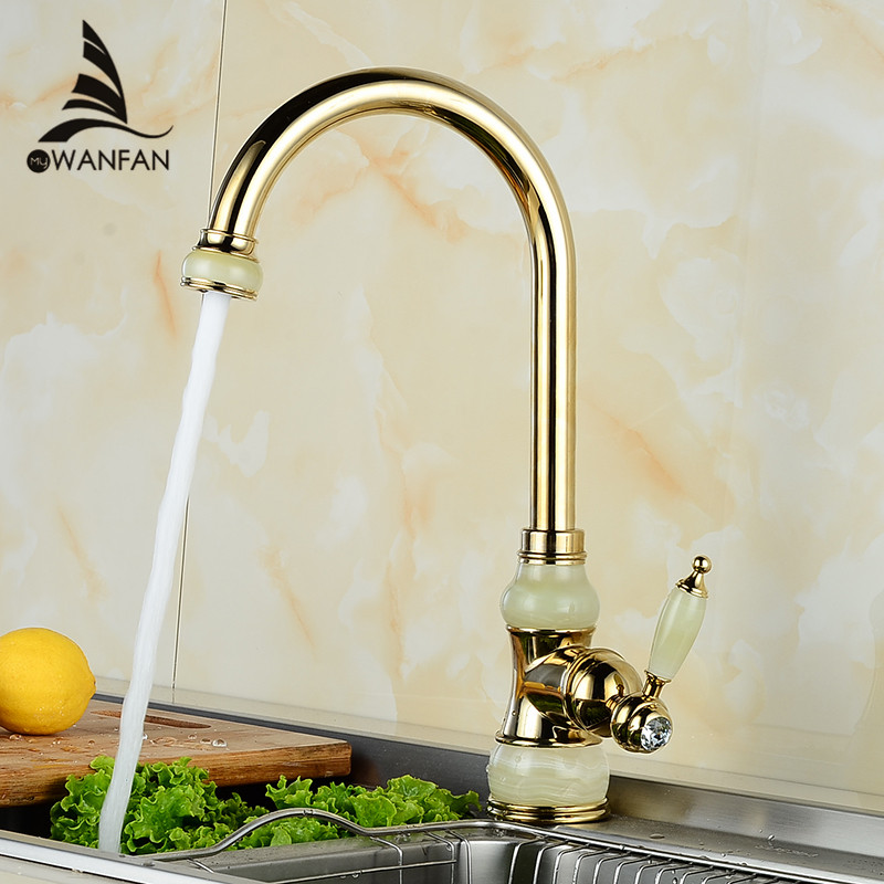 Фотография Free Shipping Brass torneira cozinha with Marble kitchen faucet/single handle Gold finish basin sink mixers taps U-02