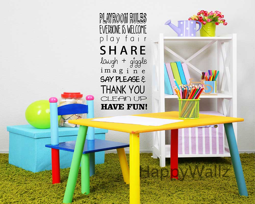 Diy Wall Decor For Playroom : Baby nursery quote wall sticker playroom rules diy